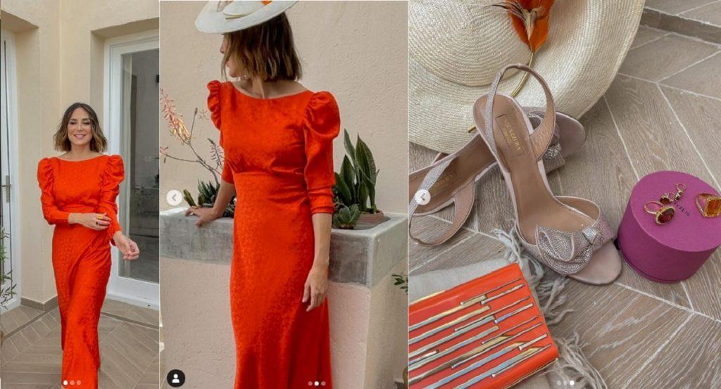 Tamara Falcó llevó un vestido rojo similar a la boda de unos amigos