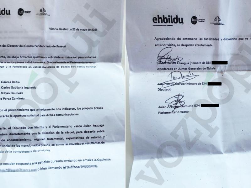 """Diputados de Bildu piden """"reuniones discretas"""" en la cárcel para supervisar el futuro de los etarras"""