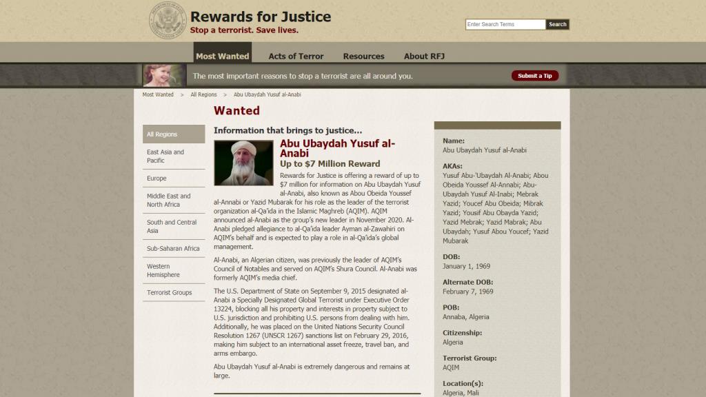 """Web que indica al líder de Al Qaeda en el Magreb Islámico, Abu Ubaydah Yusuf al-Anabi, como """"buscado""""."""