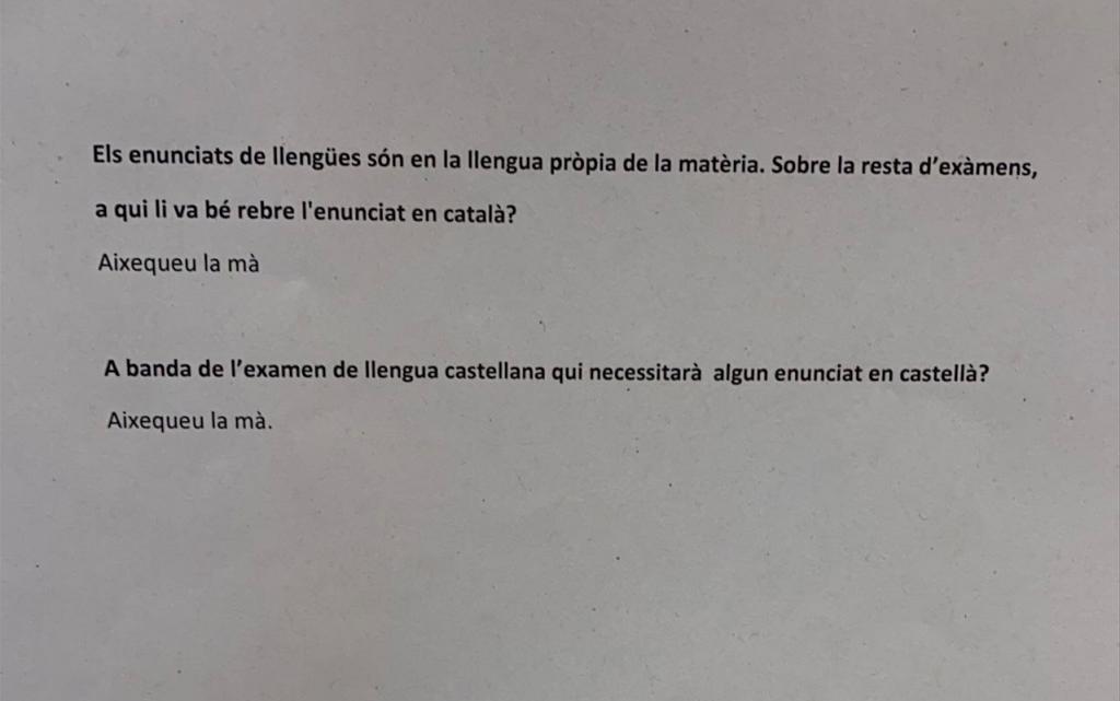 """El Govern ignora al TSJC y obliga a """"alzar el brazo"""" al que quiera examen en castellano"""