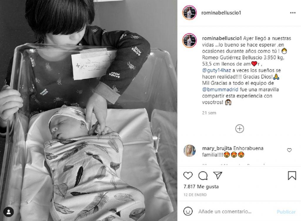 Guti y Romina anunciaron el nacimiento de Romeo en Instagram