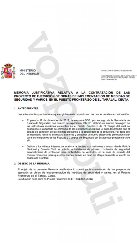 Documento del Ministerio del Interior