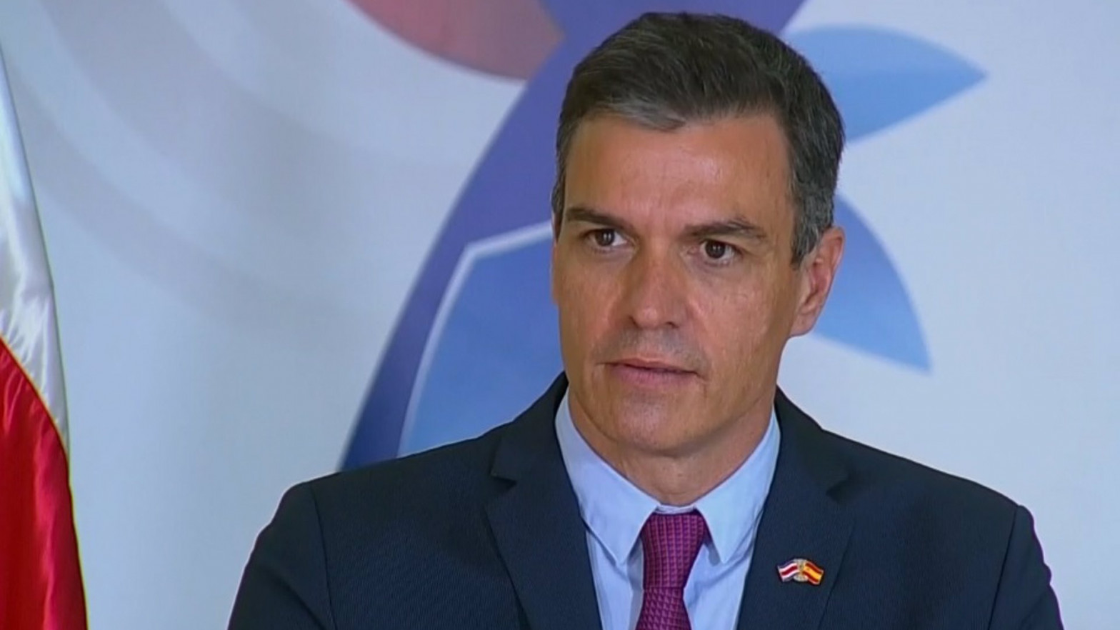 Pedro Sánchez, durante la rueda de prensa con el presidente de Costa Rica.