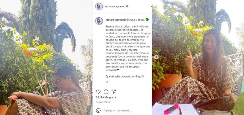 Nuria Roca envía mensajes de agradecimiento a sus fans