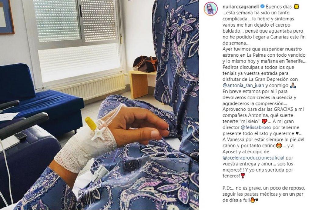 Nuria Roca publica un mensaje y foto desde el hospital