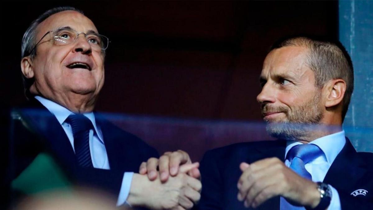 Florentino Pérez y Aleksander Čeferin, enfrentados por la Superliga