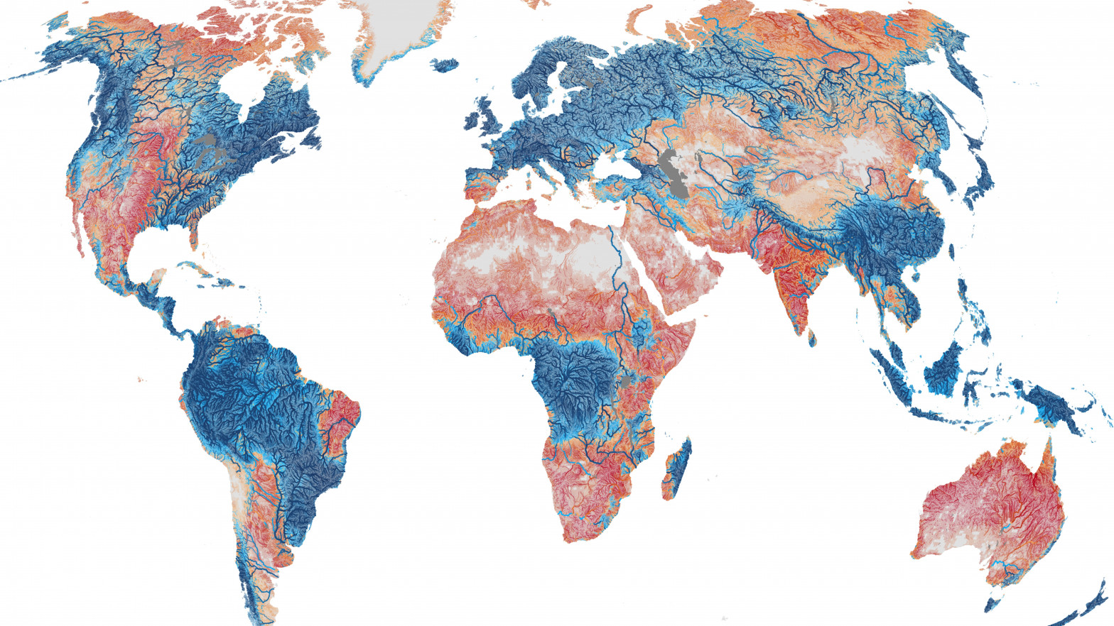 Mapa global con los ríos intermitentes