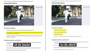 A la izquierda, la formación académica de Yolanda Díaz a fecha de 18 de junio; a la derecha, a fecha de 30 de abril.