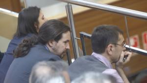 Irene Montero, Pablo Iglesias y Juan Carlos Monedero.