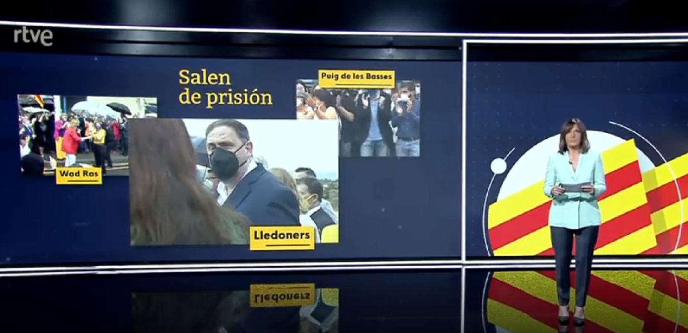 """El """"¡Viva España!"""" que se ha colado con las imágenes de la salida de prisión de los indultados en TVE"""
