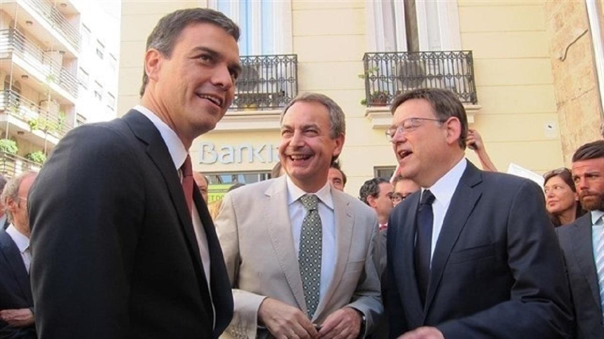 Pedro Sánchez, José Luis Rodríguez Zapatero y Ximo Puig.