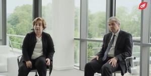 Rosa Aza, presidenta no ejecutiva de Duro Felguera, y Jaime Argüelles, nuevo consejero delegado, en una imagen de un vídeo de Duro Felguera.