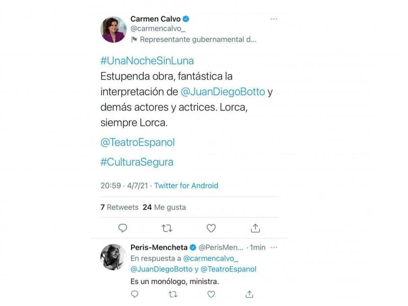 Carmen Calvo indigna a las redes tras felicitar a los supuestos actores de un monólogo