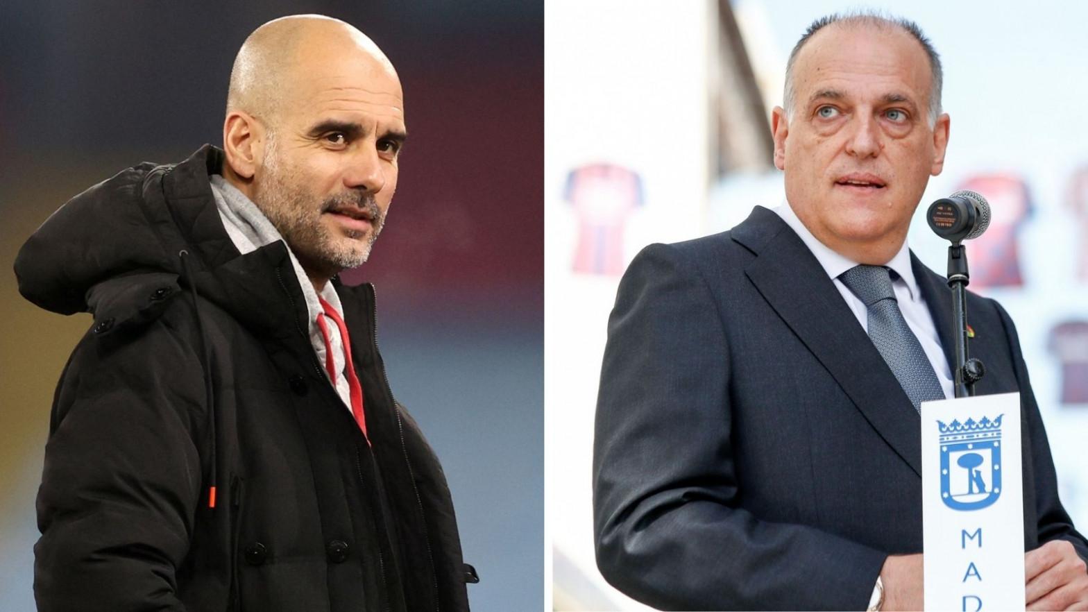 """Guardiola y Tebas se enzarzan en Twitter: """"¿Habrías ganado tantos títulos sin dopaje financiero?"""""""