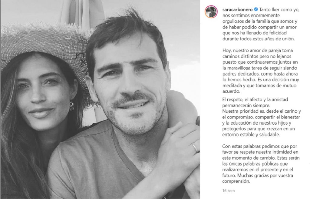 Sara Carbonero e Iker Casillas anuncian que se separan con un comunicado