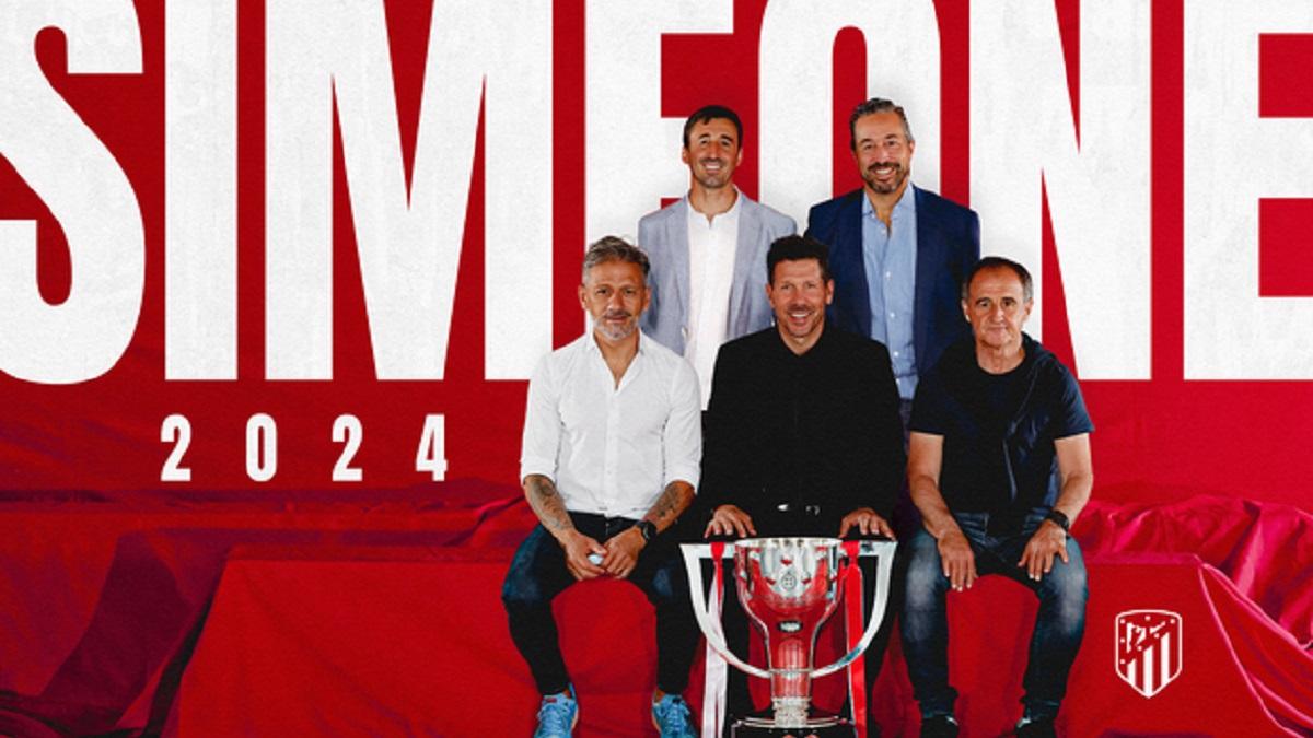 Diego Pablo Simeone renueva con el Atlético de Madrid hasta 2024