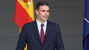 Pedro Sánchez durante la rueda de prensa en Lituania