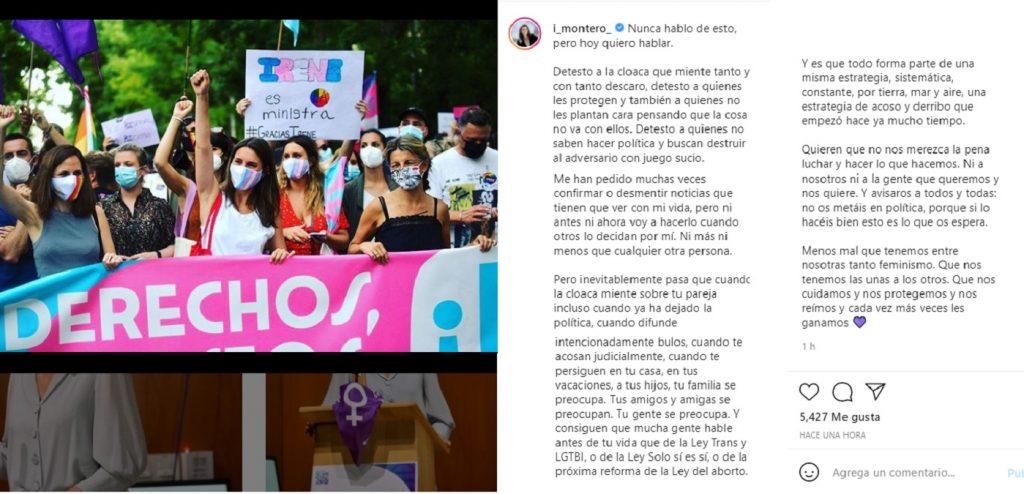 Irene Montero desmiente la ruptura con Pablo Iglesias
