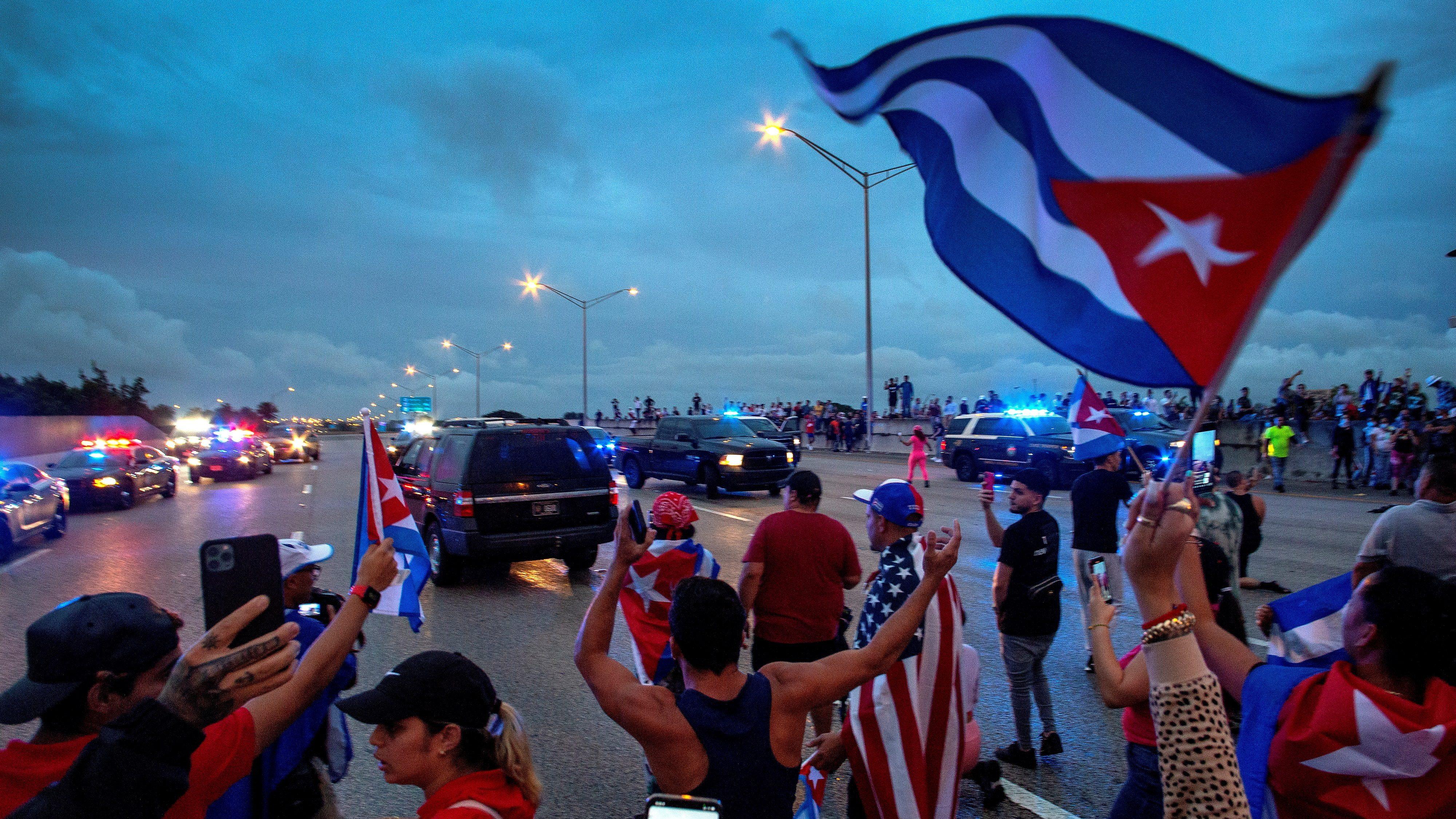 Protesta contra las represalias en las protestas de Cuba. EFE.
