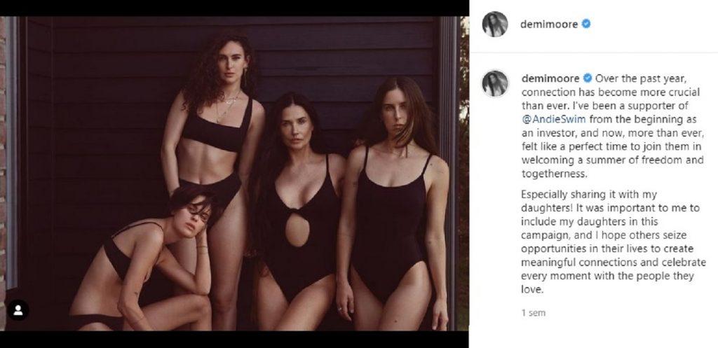 Demi Moore posa con sus hijas en bañador