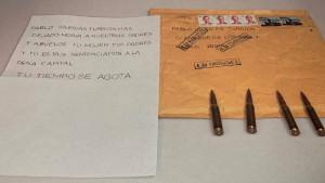 Carta con balas dirigida a Iglesias, Marlaska y Gámez.