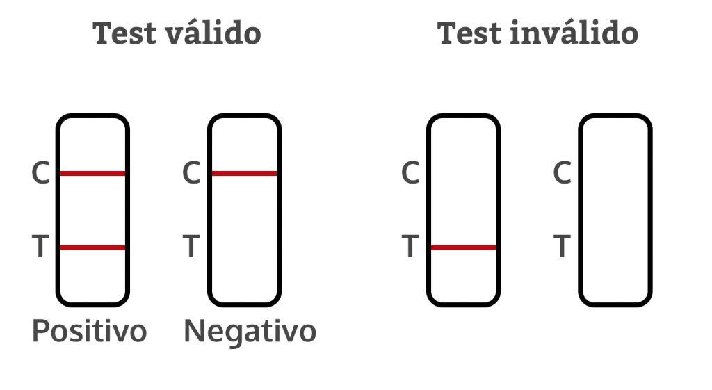 Posibilidades de resultados en una prueba de antígenos